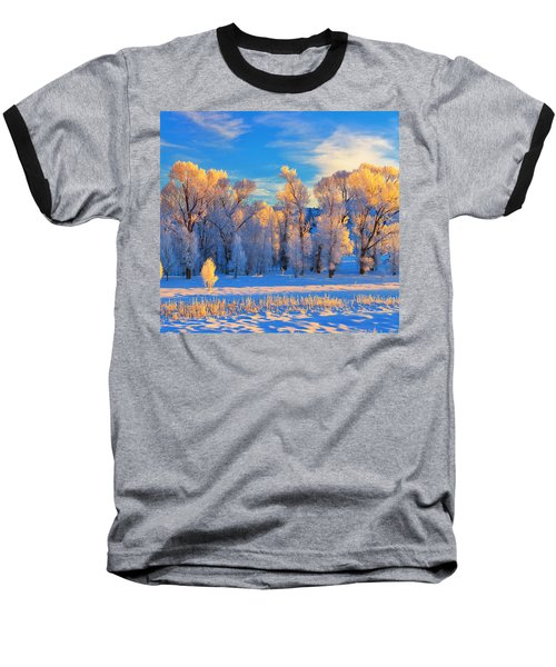 Frozen Sunrise Baseball T-Shirt by Greg Norrell