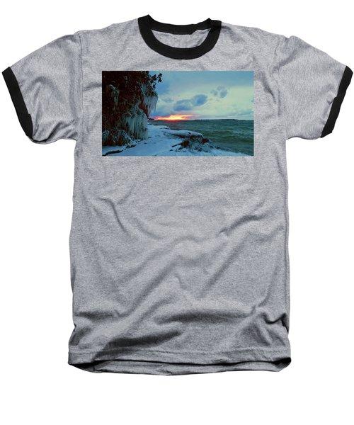 Frozen Sunset In Cape Vincent Baseball T-Shirt