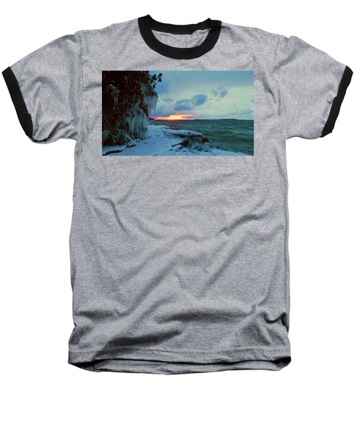 Frozen Sunset In Cape Vincent Baseball T-Shirt
