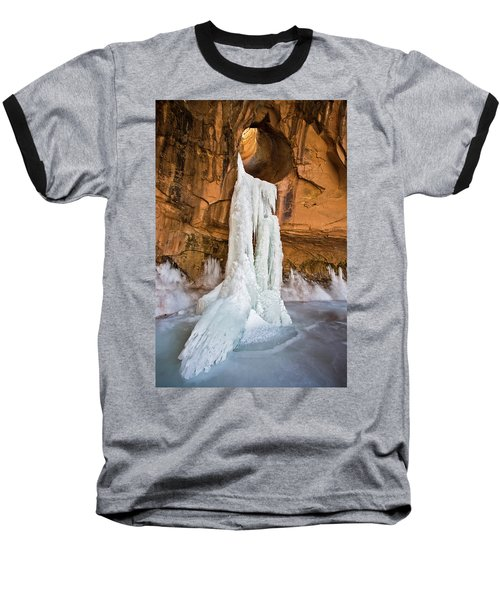 Frozen Waterfall Baseball T-Shirt