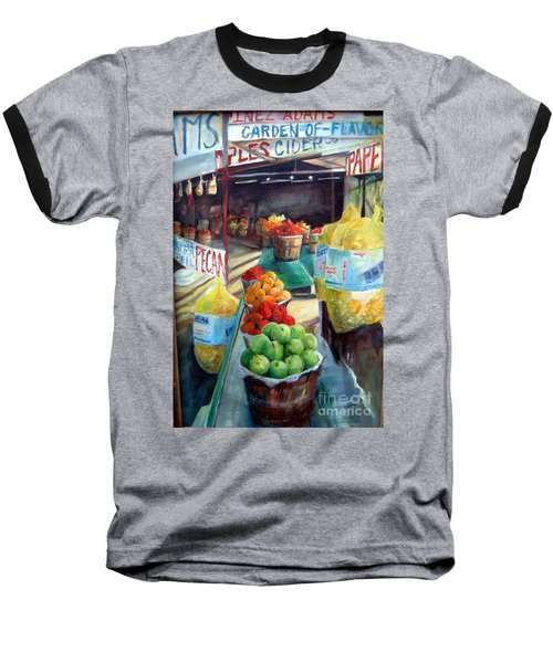 Fruitstand Rhythms Baseball T-Shirt by Linda Shackelford