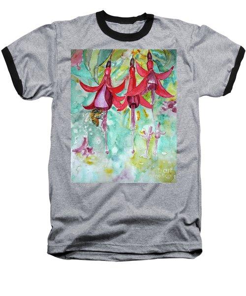 Baseball T-Shirt featuring the painting  Fuchsia by Jasna Dragun