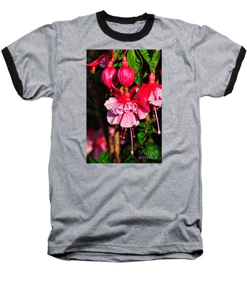Fuchsias With Droplets Baseball T-Shirt