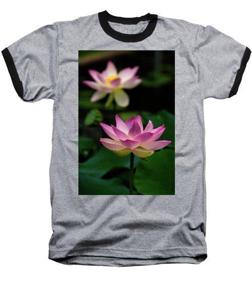 Full Blooming Dual Lotus Lilies Baseball T-Shirt