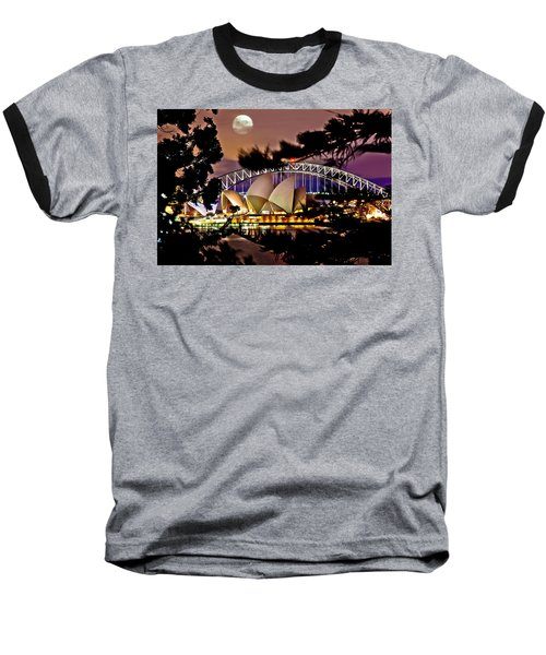 Full Moon Above Baseball T-Shirt