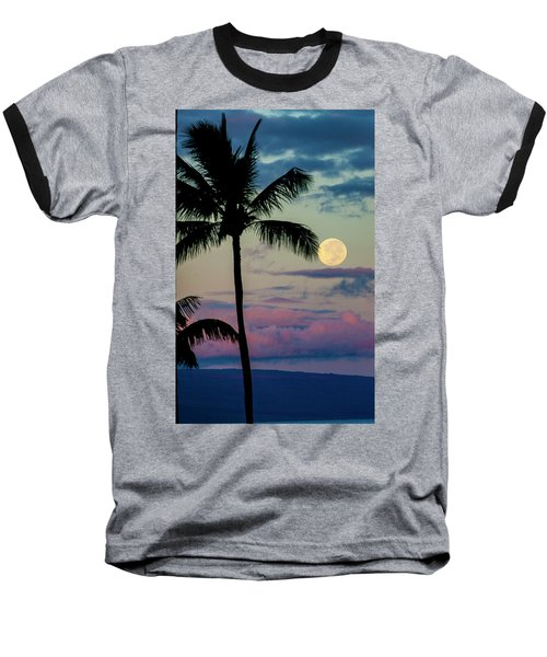 Full Moon And Palm Trees Baseball T-Shirt