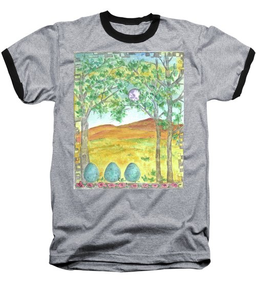 Baseball T-Shirt featuring the drawing Full Moon And Robin Eggs by Cathie Richardson