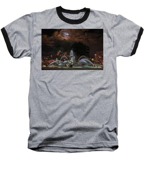 Full Moon At The Fountain Baseball T-Shirt by Lynn Sprowl