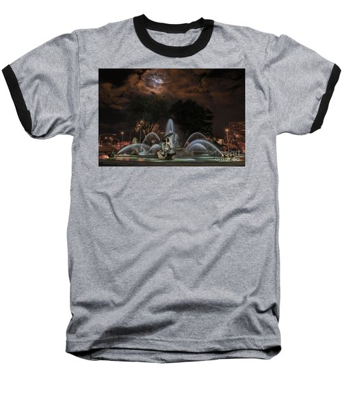 Full Moon At The Fountain Baseball T-Shirt