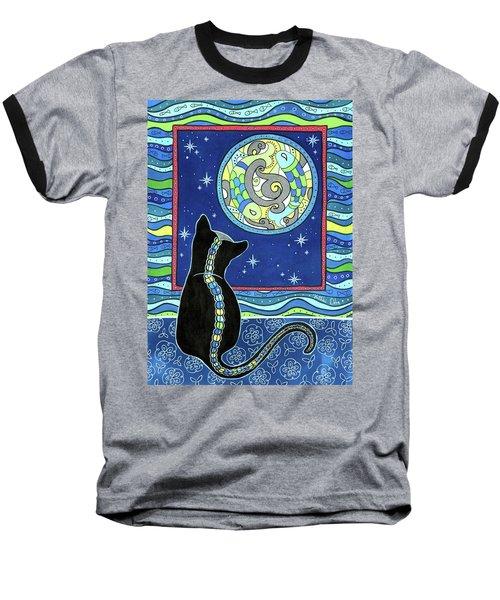 Pisces Cat Zodiac - Full Moon Baseball T-Shirt