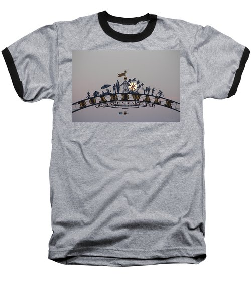 Full Moon In The Boardwalk Arch Ferris Wheel Baseball T-Shirt