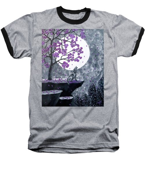 Baseball T-Shirt featuring the painting Full Moon Magic by Teresa Wing