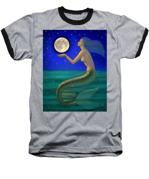 Full Moon Mermaid Baseball T-Shirt by Sue Halstenberg