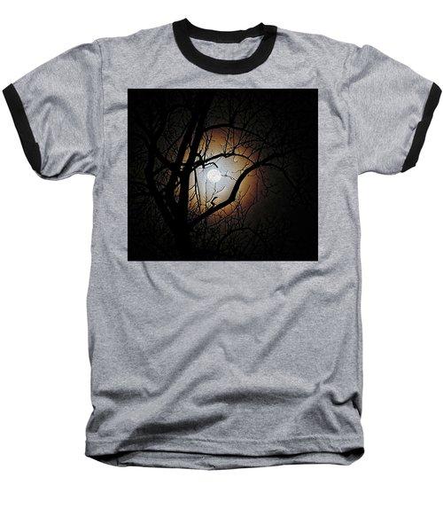 Full Moon Oil Painting Baseball T-Shirt