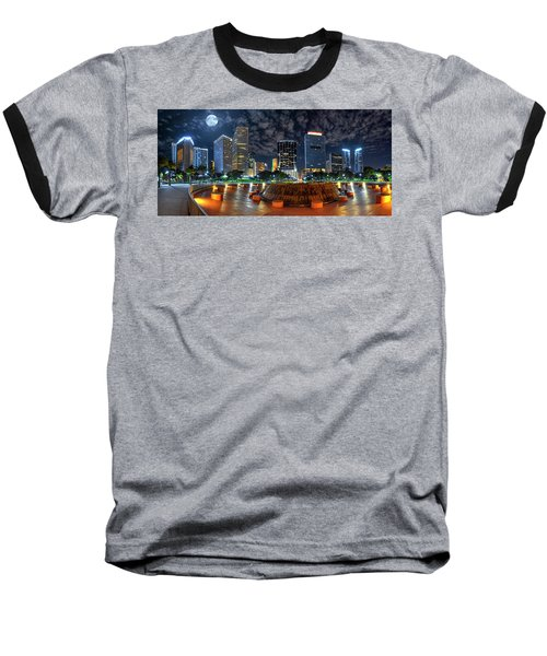 Full Moon Over Bayfront Park In Downtown Miami Baseball T-Shirt