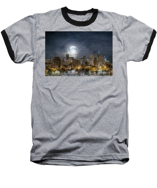 Full Moon Over Denver Baseball T-Shirt