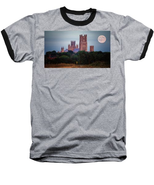 Full Moon Over Ely Cathedral Baseball T-Shirt