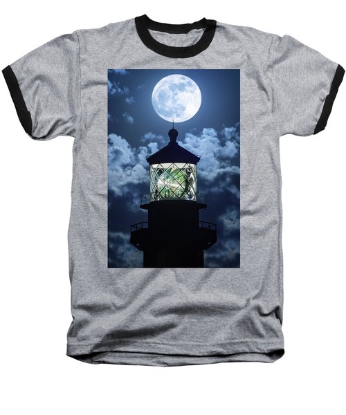 Full Moon Over Hillsboro Lighthouse In Pompano Beach Florida  Baseball T-Shirt by Justin Kelefas