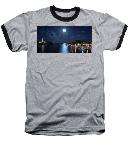 Full Moon Over Jupiter Lighthouse And Inlet In Florida Baseball T-Shirt