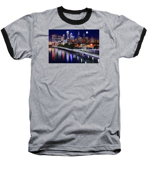 Full Moon Over Philly Baseball T-Shirt by Frozen in Time Fine Art Photography