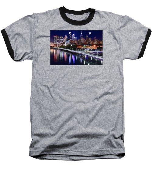 Full Moon Over Philly Baseball T-Shirt