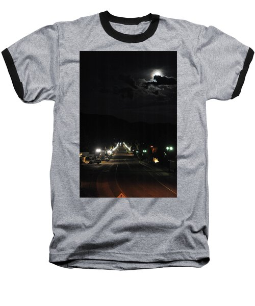 Full Moon Over Red River Baseball T-Shirt