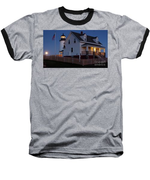 Full Moon Rise At Pemaquid Light, Bristol, Maine -150858 Baseball T-Shirt by John Bald
