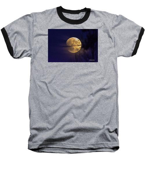 Baseball T-Shirt featuring the photograph Full Moon Rise  by Stephen  Johnson