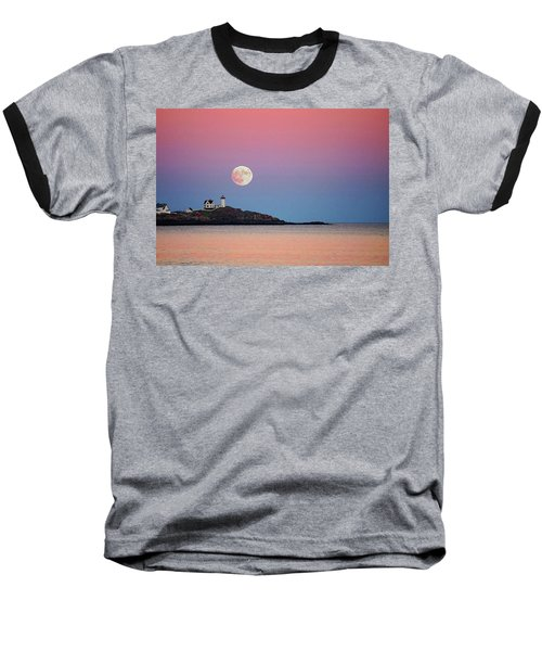 Full Moon Rising At Nubble Light Baseball T-Shirt