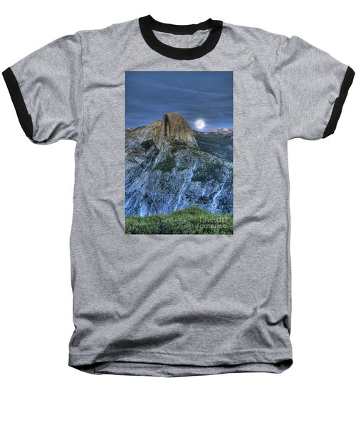 Full Moon Rising Behind Half Dome Baseball T-Shirt