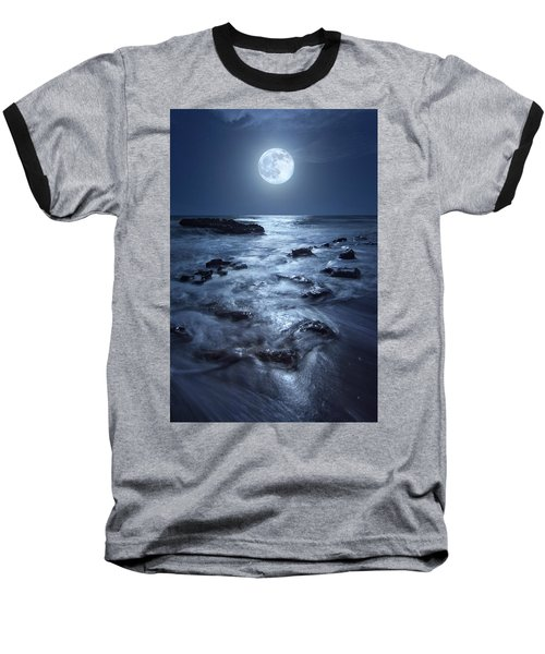Full Moon Rising Over Coral Cove Beach In Jupiter, Florida Baseball T-Shirt by Justin Kelefas