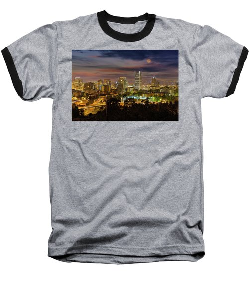 Full Moon Rising Over Downtown Portland Baseball T-Shirt