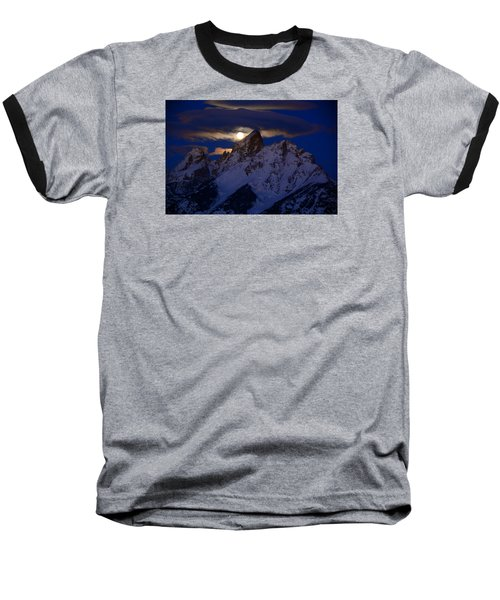 Full Moon Sets Over The Grand Teton Baseball T-Shirt by Raymond Salani III