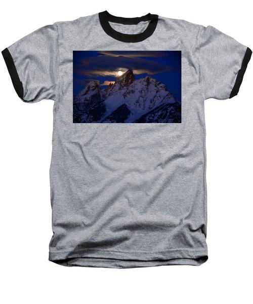 Full Moon Sets Over The Grand Teton Baseball T-Shirt