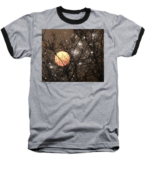 Full Moon Starry Night Baseball T-Shirt