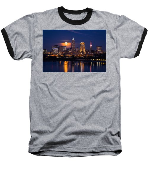 Full Moonrise Over Cleveland Baseball T-Shirt