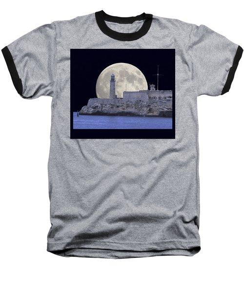 Full Moonrise Over The Castillo De Los Tres Reyes Magos Del Morro, Havana, Cuba Baseball T-Shirt