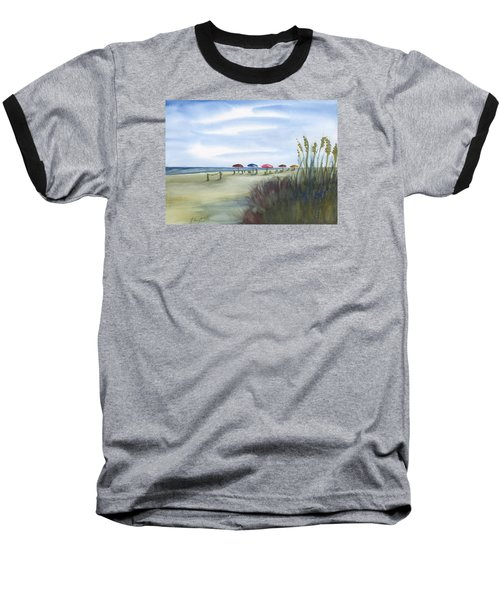 Fun At Folly Field Beach Baseball T-Shirt by Frank Bright