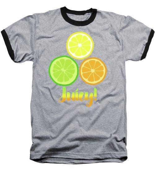Fun Juicy Orange Lime Lemon Citrus Art Baseball T-Shirt by Tina Lavoie