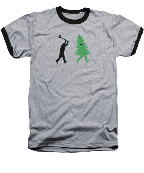 Funny Cartoon Christmas Tree Is Chased By Lumberjack Run Forrest Run Baseball T-Shirt by Philipp Rietz
