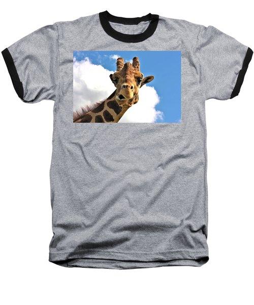Funny Face Giraffe Baseball T-Shirt by Sheila Brown