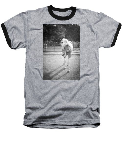 Funny Horse In Black And White Baseball T-Shirt by Kelly Hazel