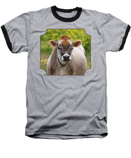 Funny Jersey Cow - Horizontal Baseball T-Shirt by Gill Billington