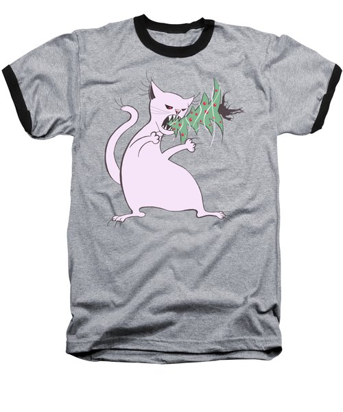 Funny White Cat Eats Christmas Tree Baseball T-Shirt