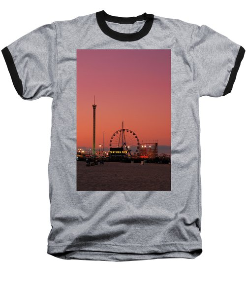 Funtown Pier At Sunset II - Jersey Shore Baseball T-Shirt