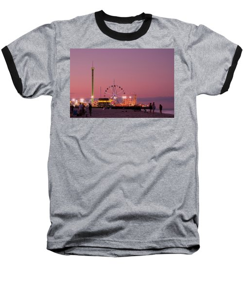 Funtown Pier At Sunset IIi - Jersey Shore Baseball T-Shirt