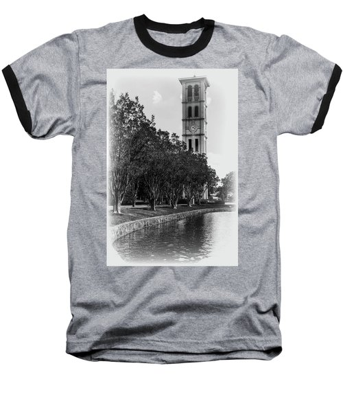 Furman University Bell Tower Greenville South Carolina Black And White Baseball T-Shirt
