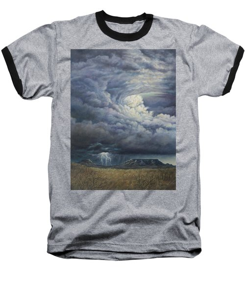 Fury Over Square Butte Baseball T-Shirt by Kim Lockman