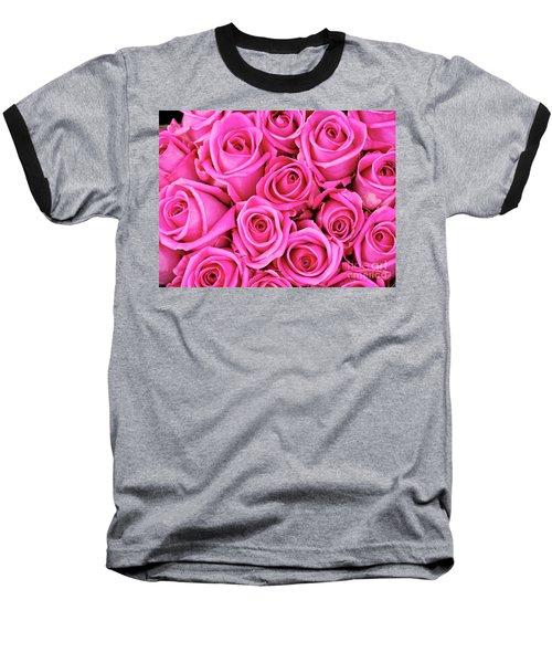Fuschia Colored Roses Baseball T-Shirt
