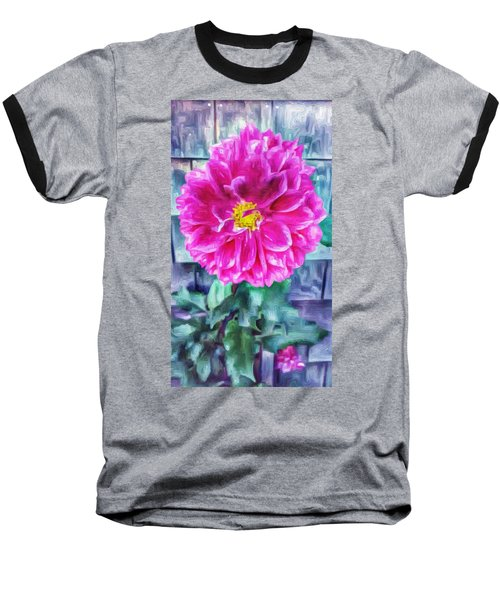 Fuschia Dahlia In Oil Baseball T-Shirt